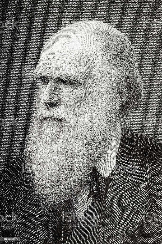 Engraving of scientist Charles Darwin from 1882 royalty-free stock vector art
