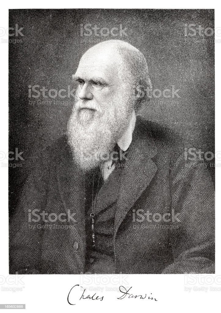 Engraving of scientist Charles Darwin from 1882 with signature royalty-free stock vector art