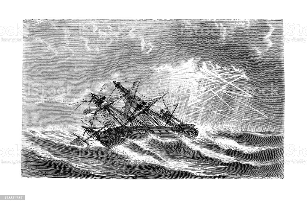 Engraving of sinking ship in a hurricane royalty-free stock vector art