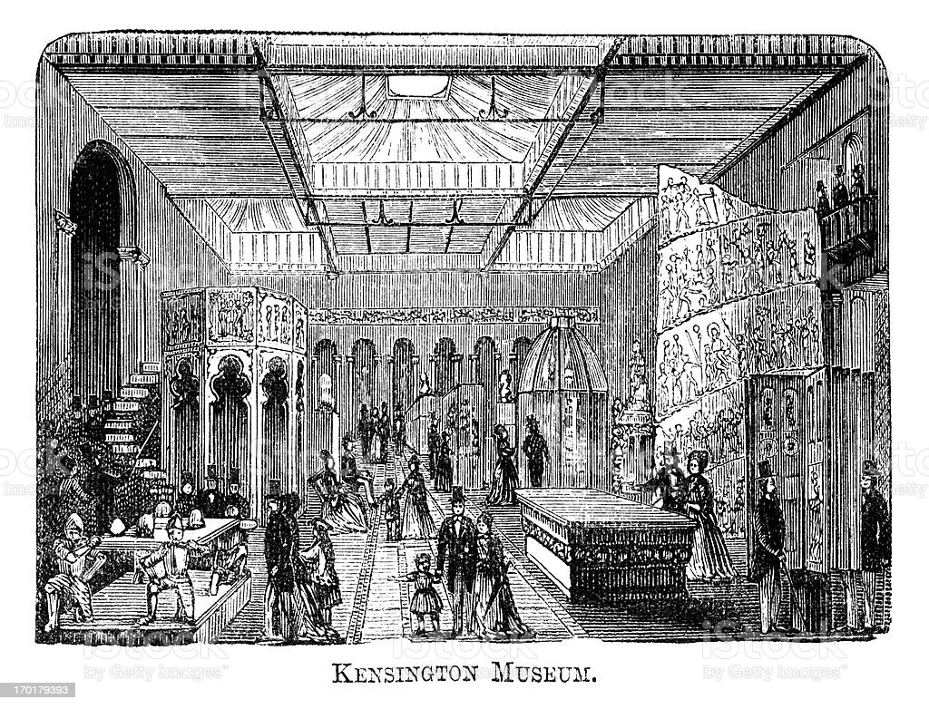 Engraving of South Kensington Museum (now Victoria and Albert), 1871 vector art illustration