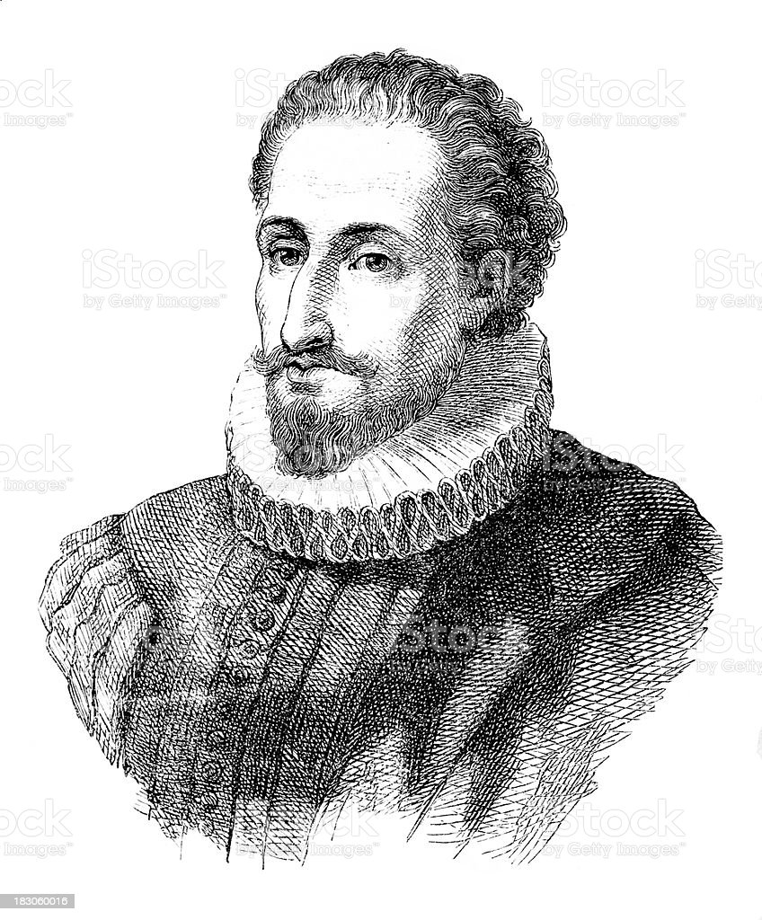 Engraving of spanish writer Miguel de Cervantes from 1870 royalty-free stock vector art