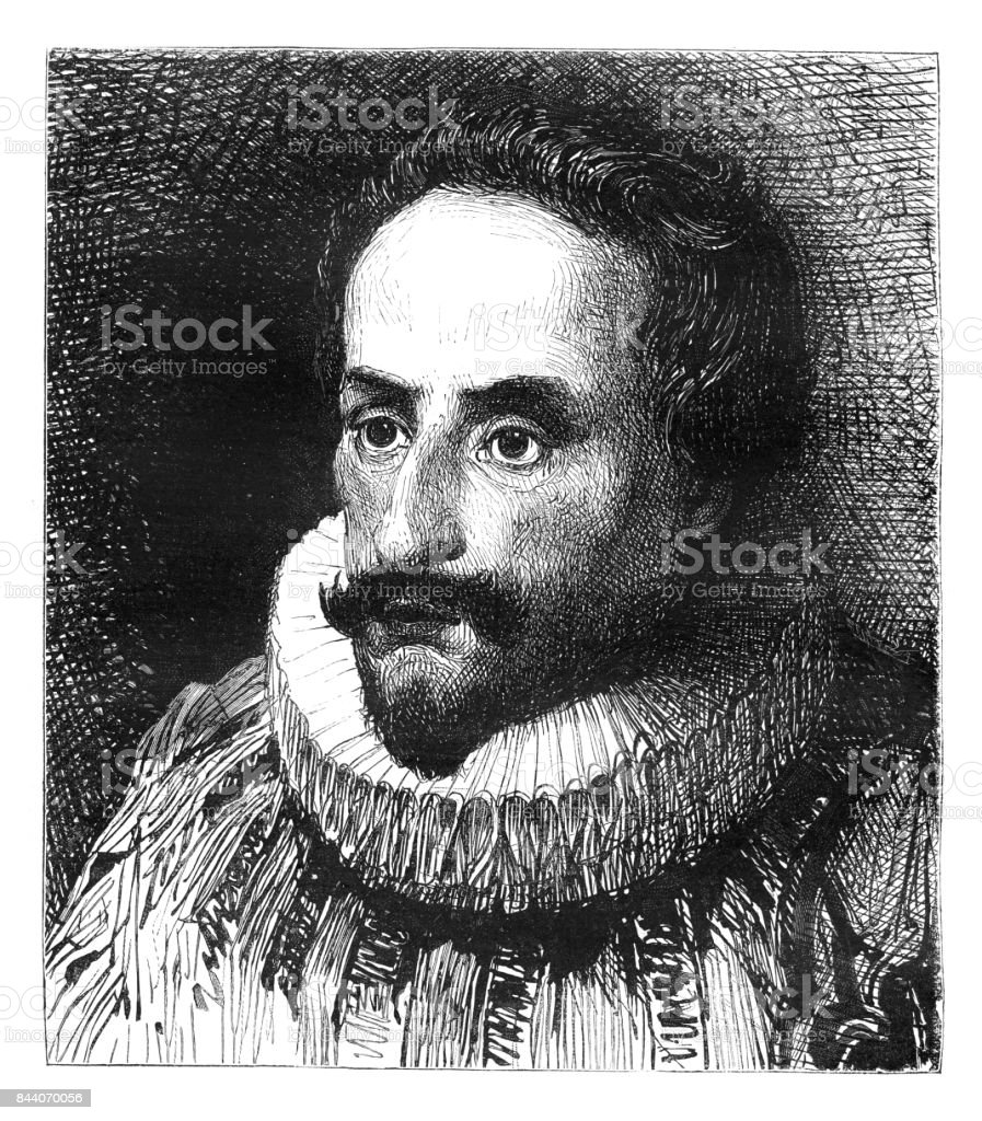 Engraving of spanish writer Miguel de Cervantes from 1883 vector art illustration