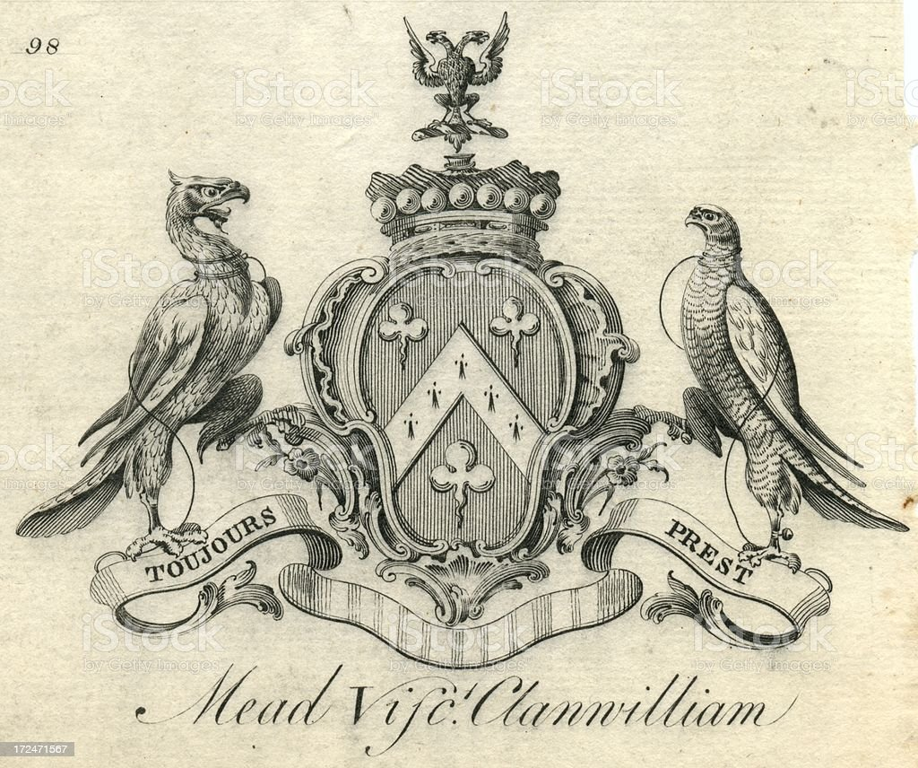 Engraving coat of arms Mead Viscount Clanwilliam 18th century vector art illustration