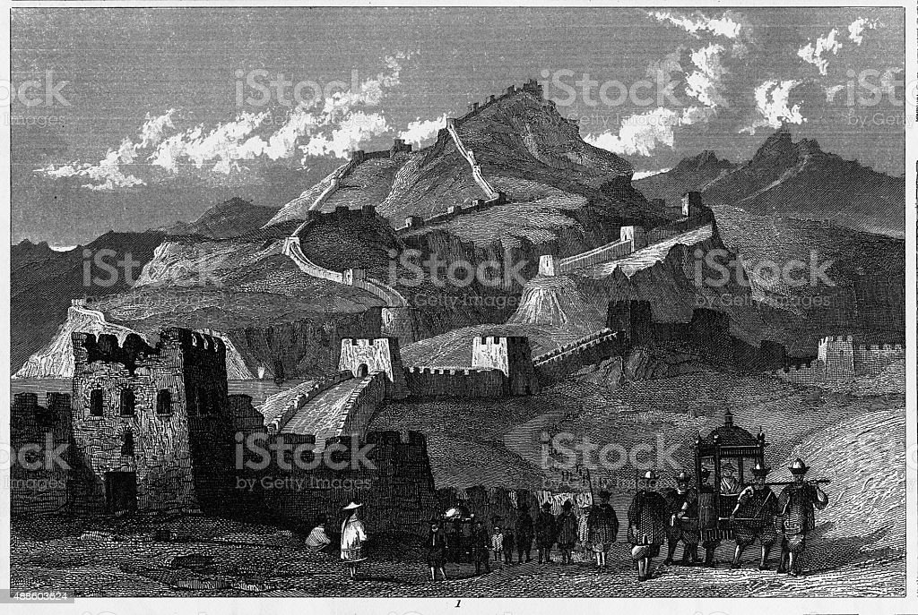 Engraving of The Great Wall of China vector art illustration