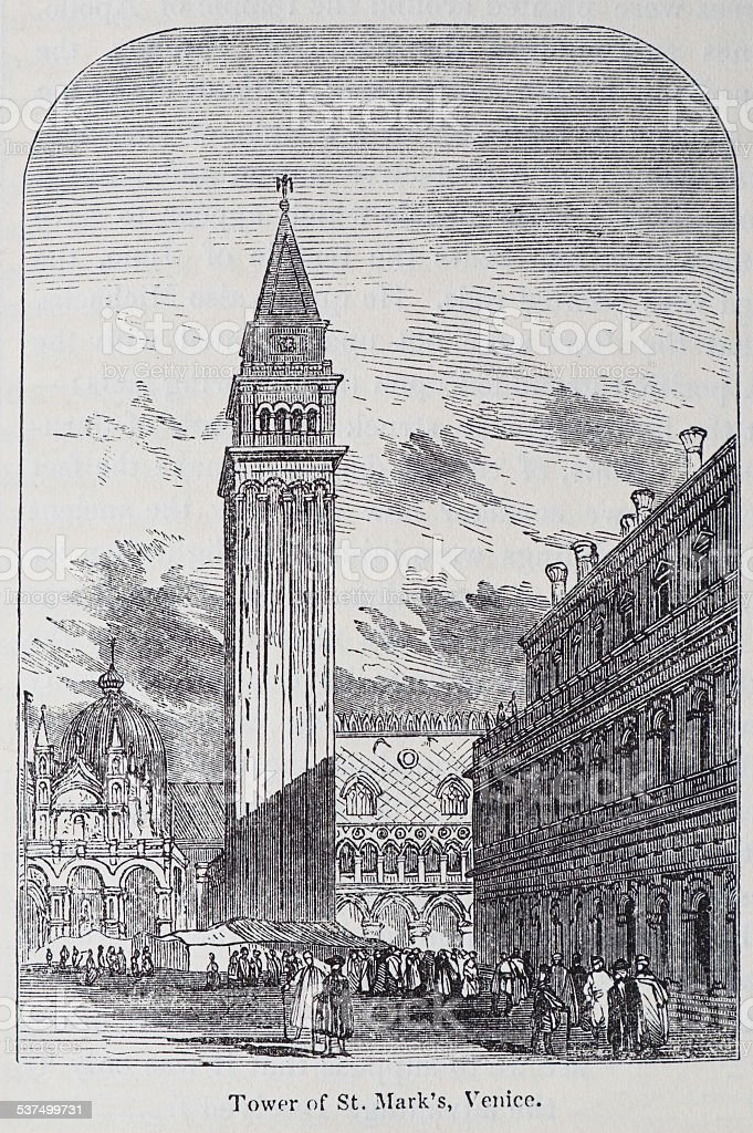 Engraving Of The Tower Of St Mark's, Venice vector art illustration