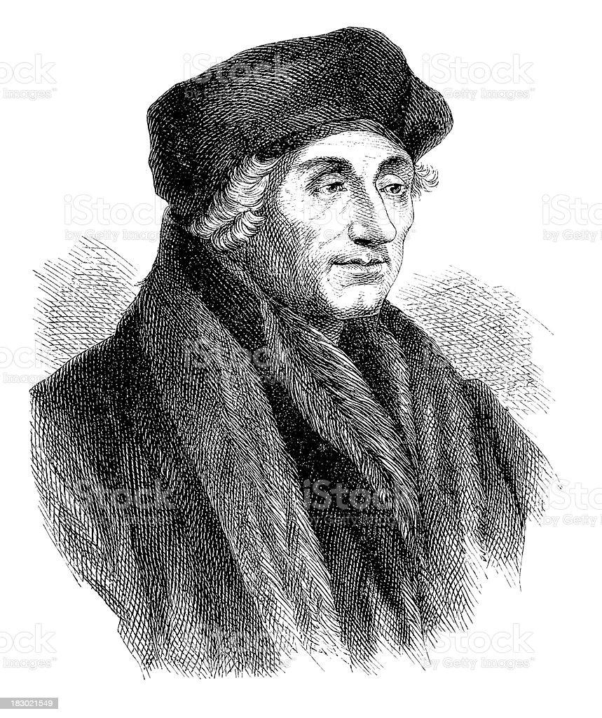 Engraving of theologian Desiderius Erasmus from 1870 royalty-free stock vector art