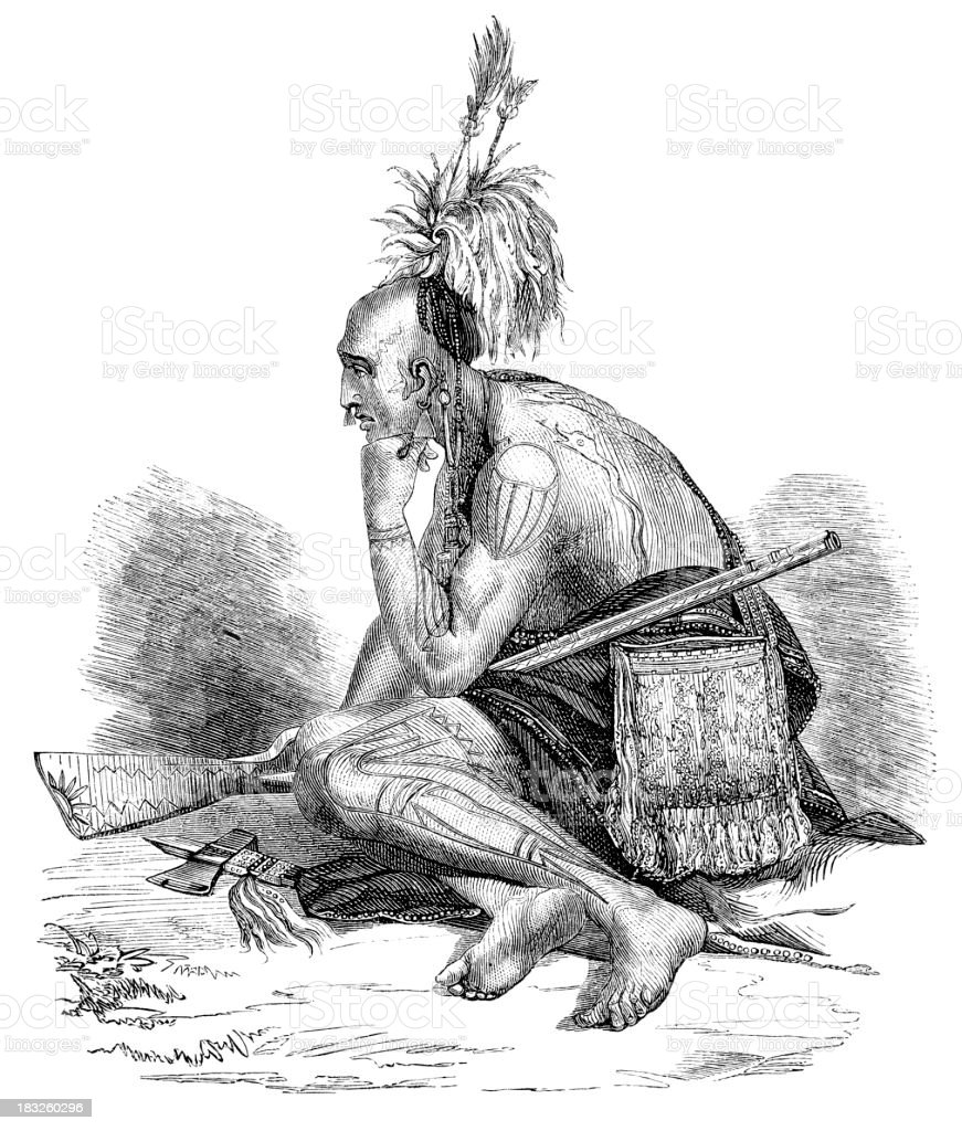 Engraving of thoughtful native american Iroquois from 1870 vector art illustration