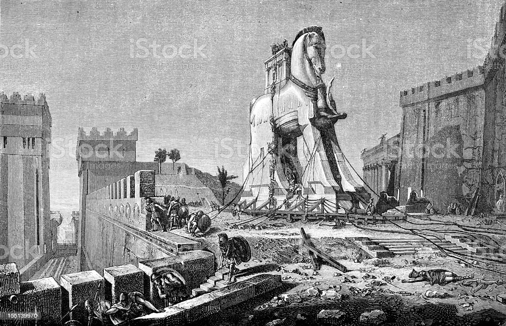 Engraving of trojan horse from 1875 royalty-free stock vector art