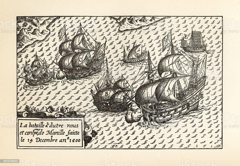 Engraving of Van Noort Landing in Manila Bay, Philippines, 1600 vector art illustration