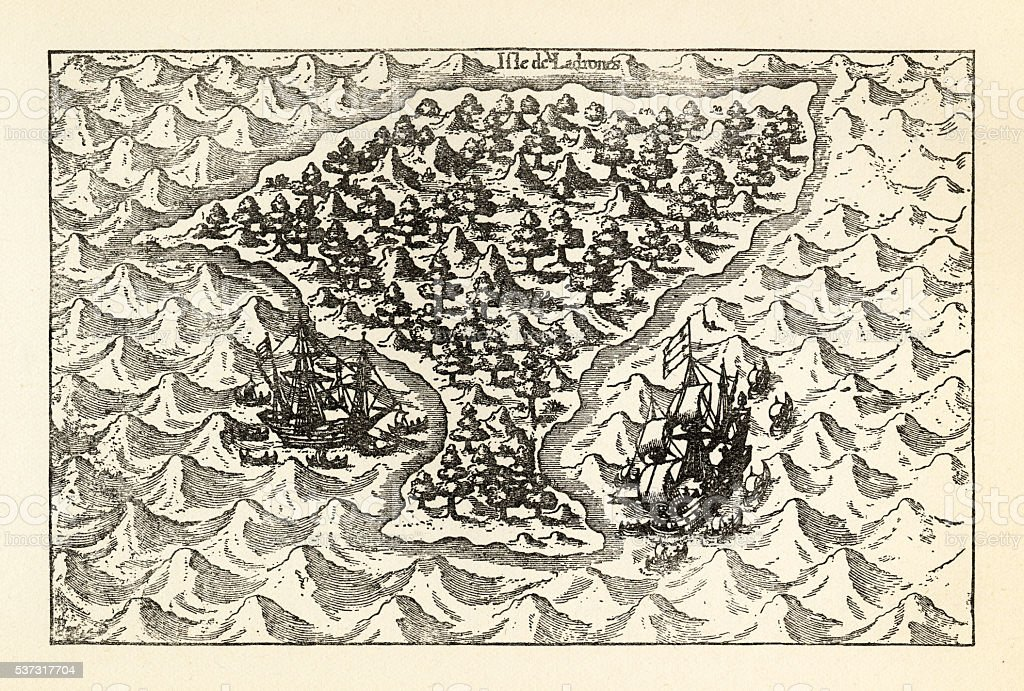 Engraving of Van Noort Sailing the Marianne Islands, 1600 vector art illustration