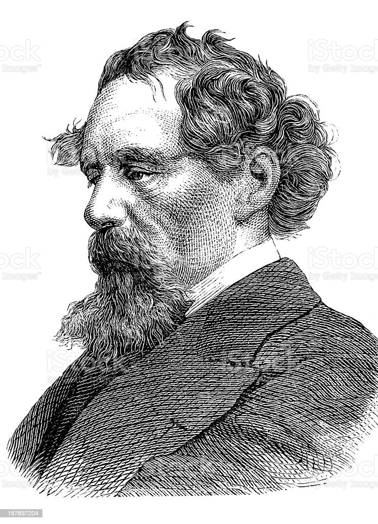 Engraving of writer Charles Dickens from 1870 vector art illustration