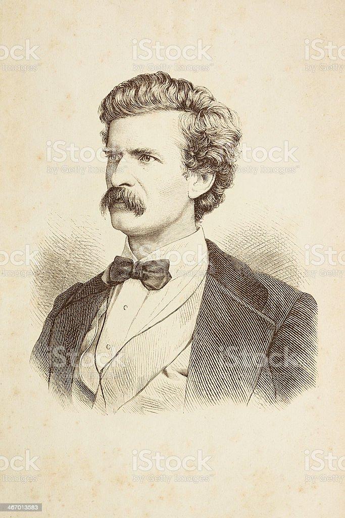 Engraving of writer Mark Twain from 1882 vector art illustration