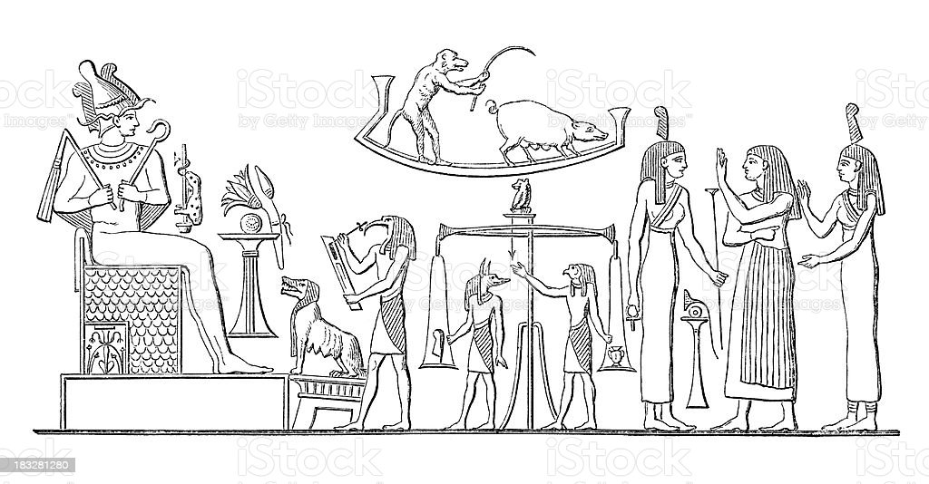 Engraving pharaoh at judgment of the dead vector art illustration