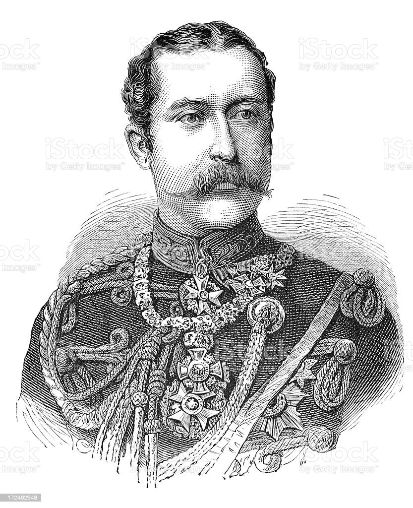 Engraving Prince Arthur duke of Connaught from 1879 royalty-free stock vector art