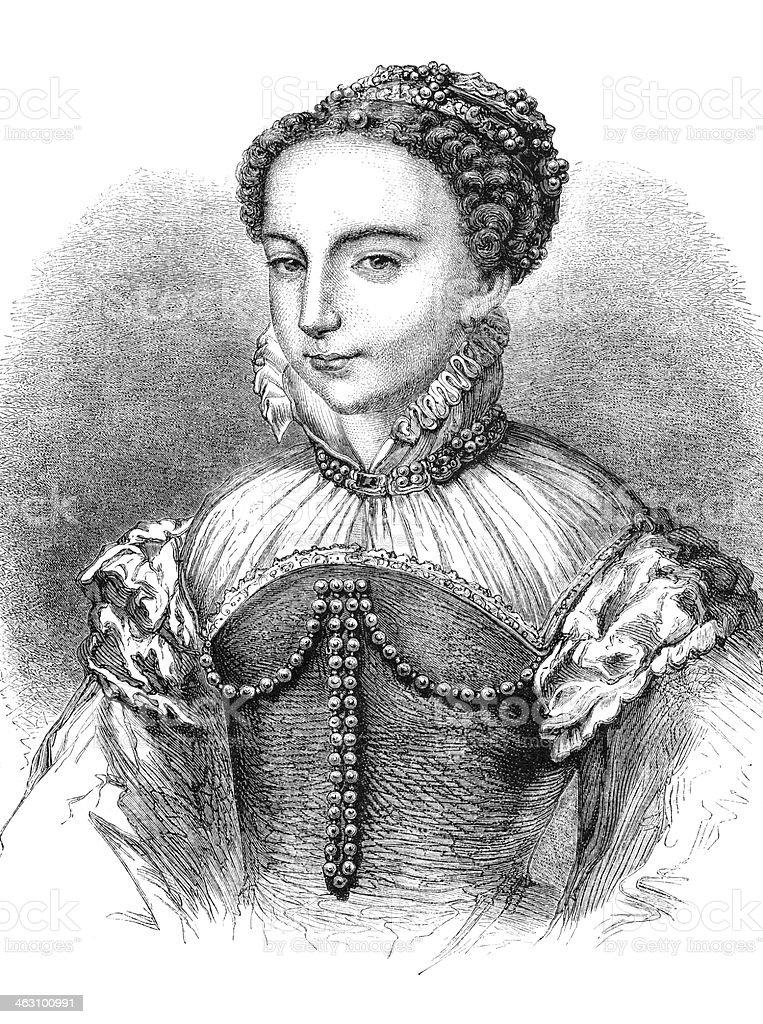Engraving Queen Maria Stuart 1842 vector art illustration