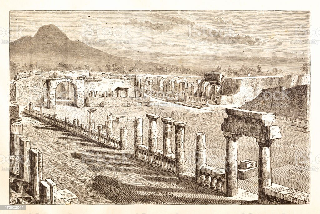 Engraving ruines of Pompeii Italy 1881 royalty-free stock vector art