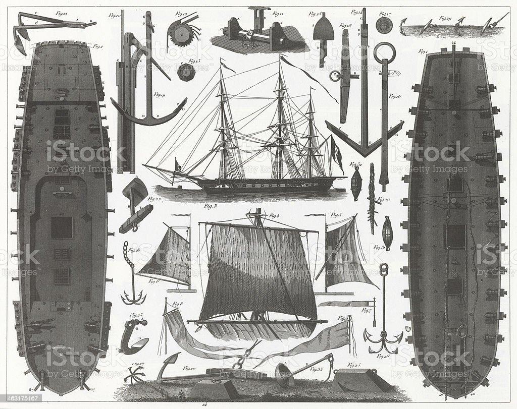 Engraving: Ship Equipment vector art illustration