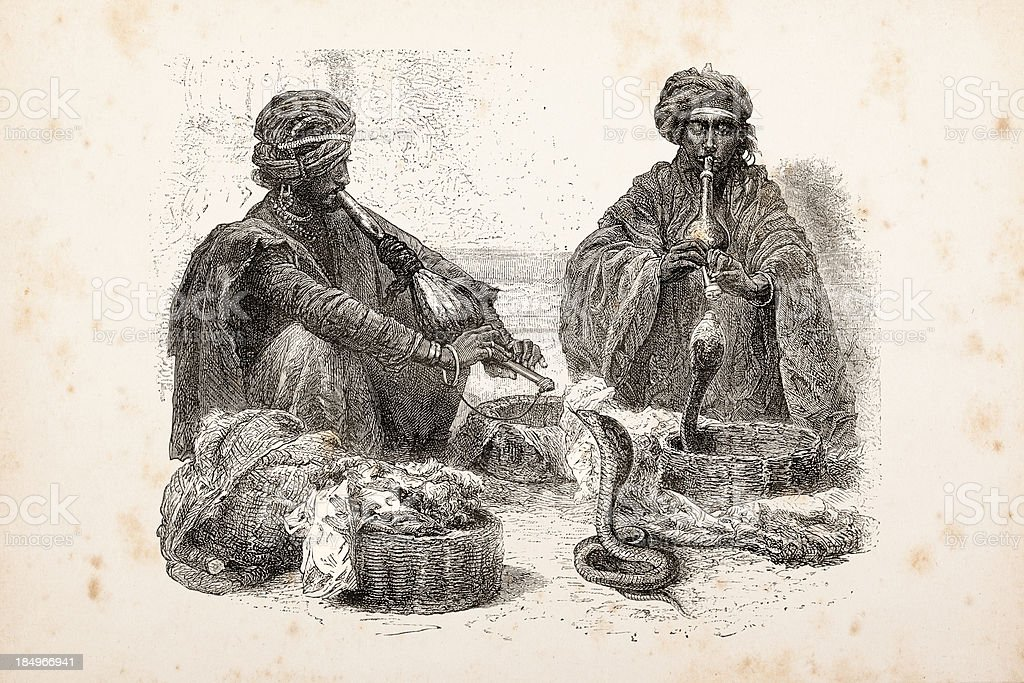 Engraving snake charmer in India from 1873 royalty-free stock vector art