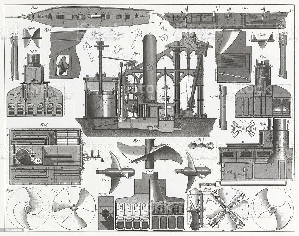 Engraving: Steamship Construction vector art illustration