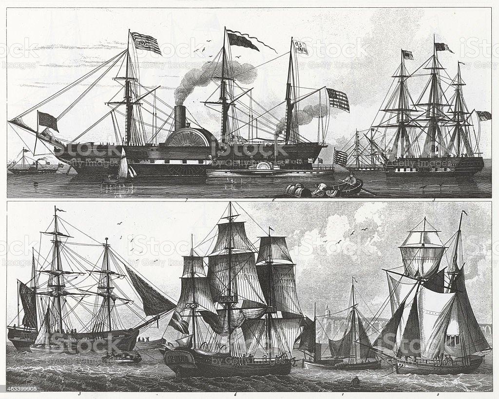 Engraving: Steamships and Sailing Ships royalty-free stock vector art