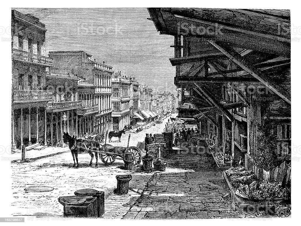 Engraving street Sacramento to San Francisco royalty-free stock vector art
