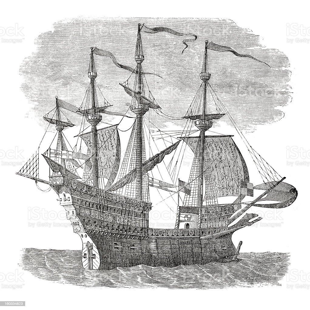 Engraving warship of king Henry VIII from 16th Century vector art illustration