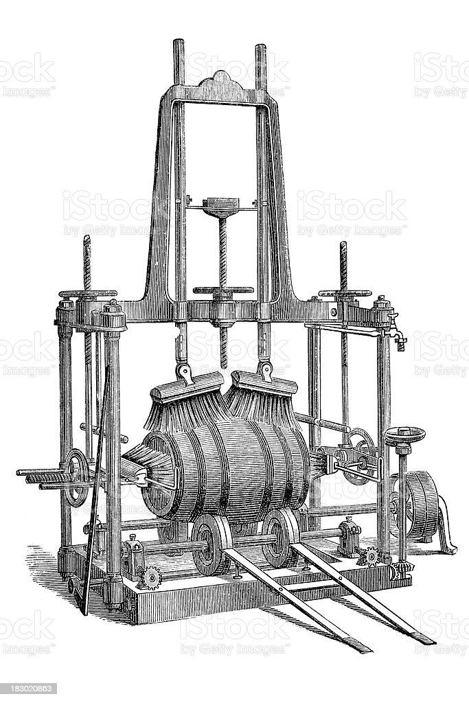 Engraving wine barrel cleaning machine from 1870 royalty-free stock vector art