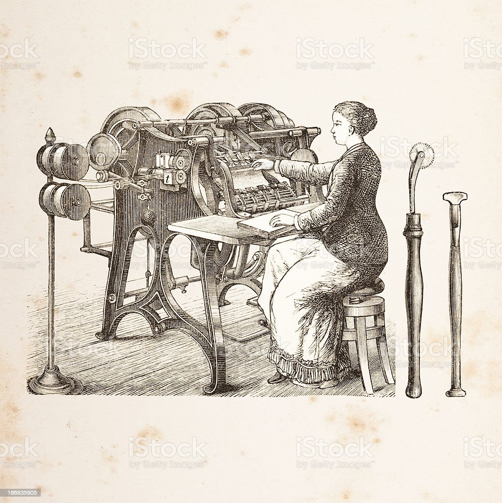 Engraving woman at binding machine from 1882 vector art illustration