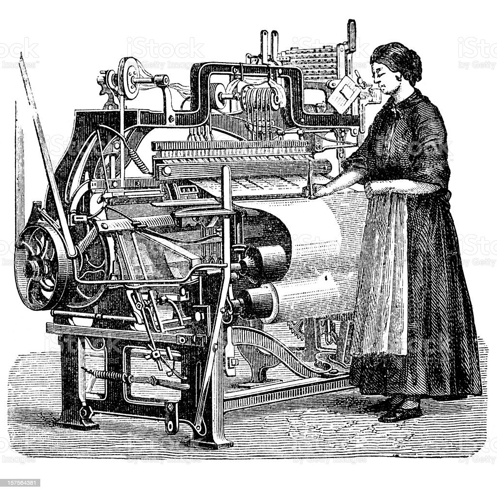 Engraving woman weaving cloth on power loom 1882 vector art illustration