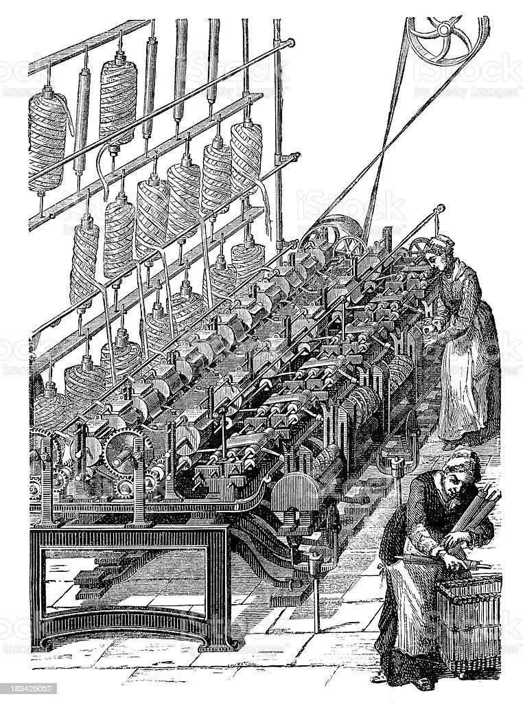 Engraving woman working with wool at weaving loom vector art illustration