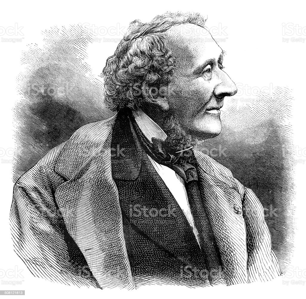 Engraving writer Hans Christian Andersen 1876 vector art illustration
