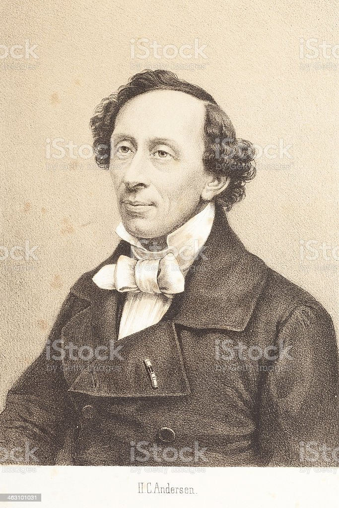 Engraving writer Hans Christian Andersen 1881 vector art illustration