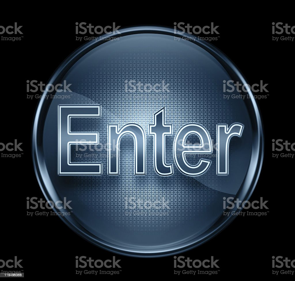 Enter icon dark blue, isolated on black background royalty-free stock vector art