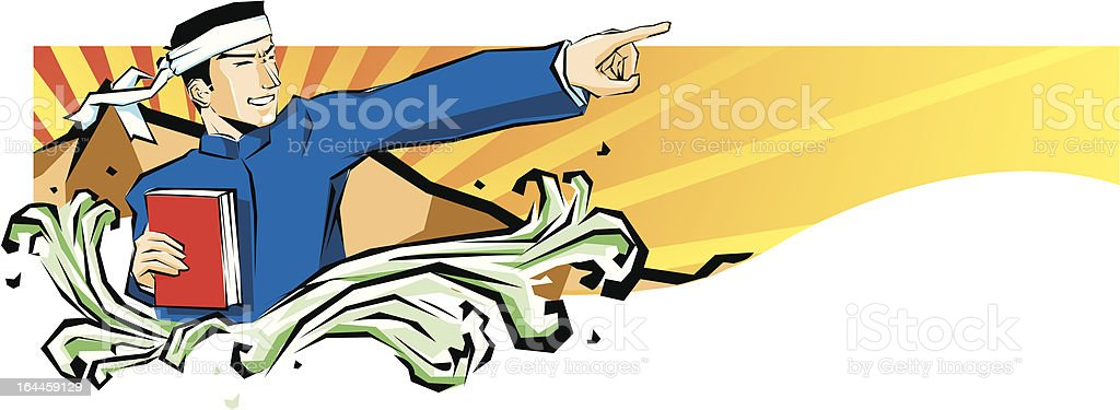 Enthusiastic young people vector art illustration