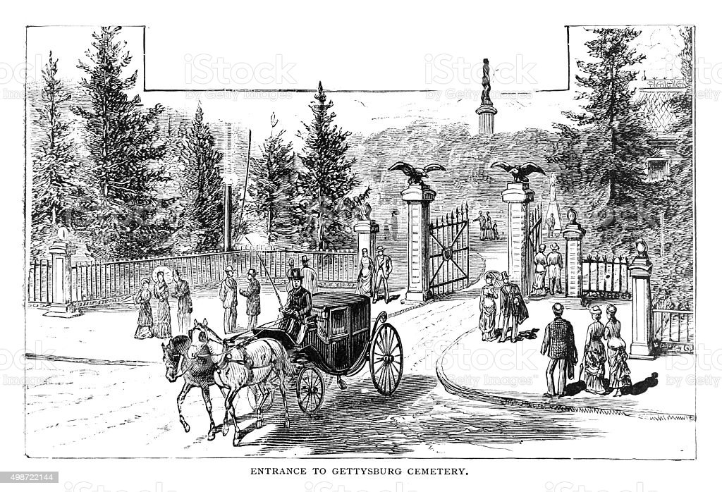 Entrance to Gettysburg Cemetery vector art illustration