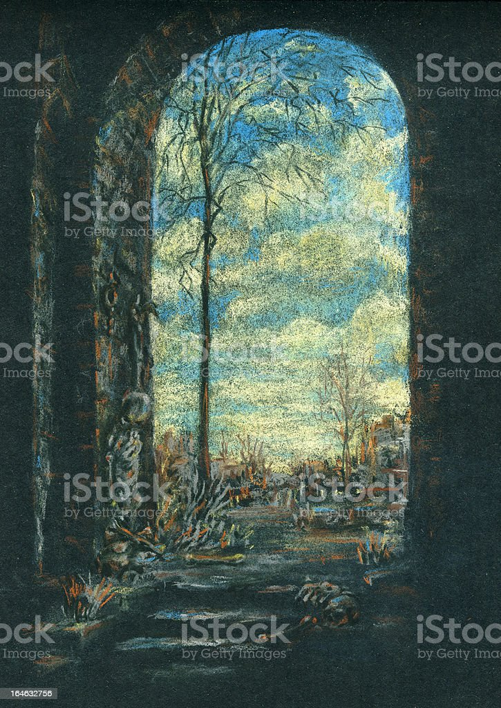 Entrance to the ancient ruins royalty-free stock vector art