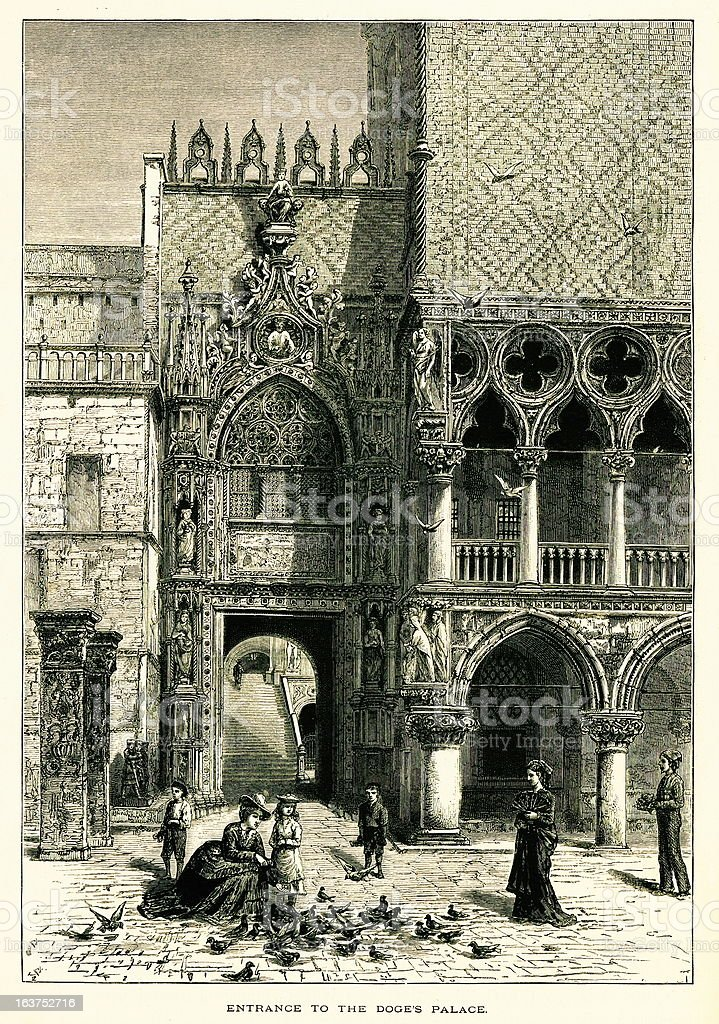 Entrance to the Doge's Palace, Venice, Italy, wood engraving (18 vector art illustration
