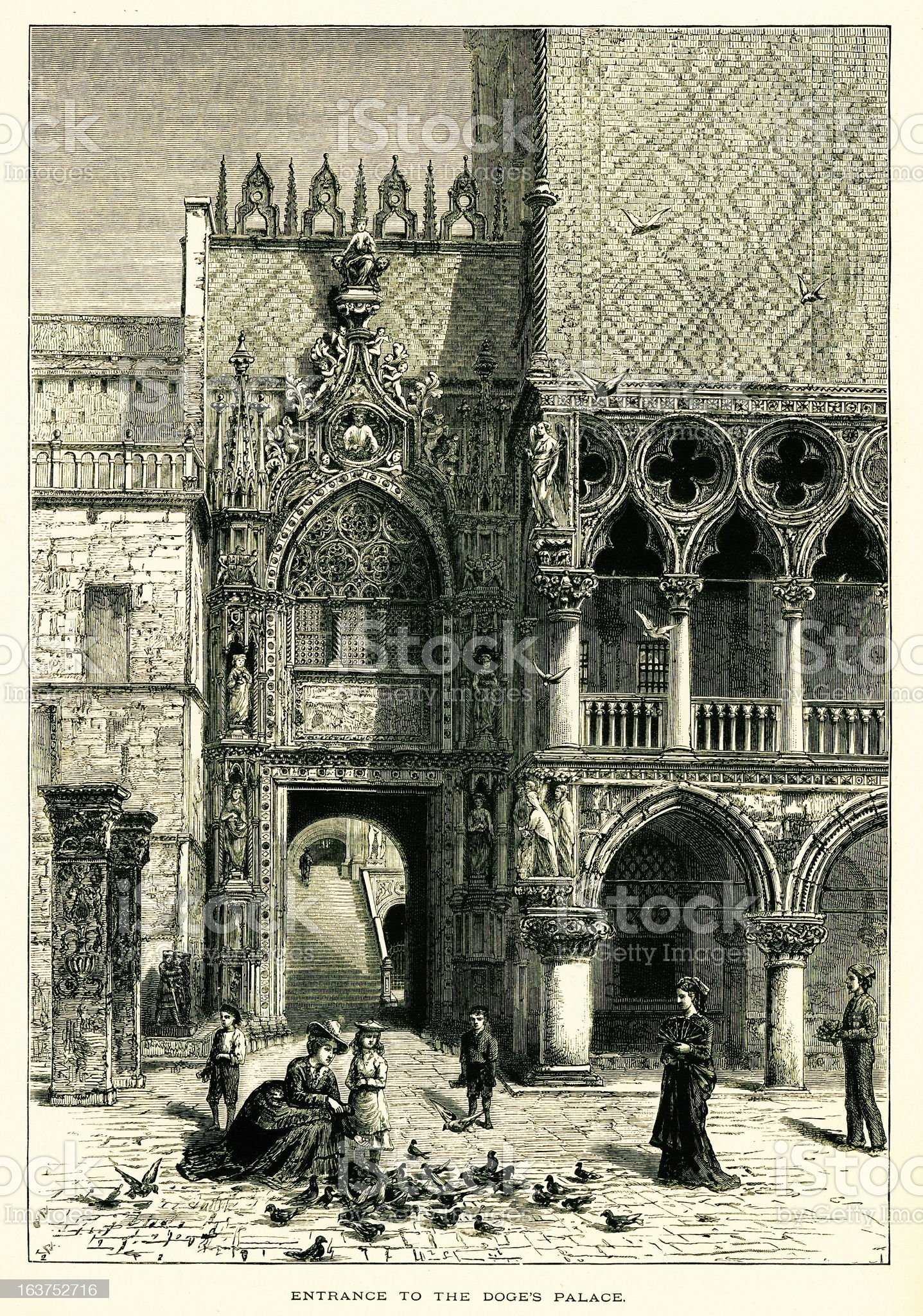 Entrance to the Doge's Palace, Venice, Italy, wood engraving (18 royalty-free stock vector art