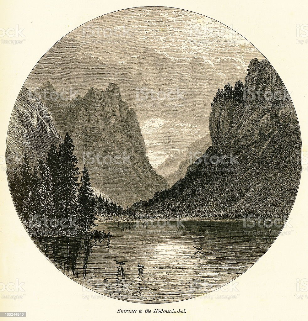 Entrance to the Hohlensteintal, Italy (antique wood engraving) royalty-free stock vector art