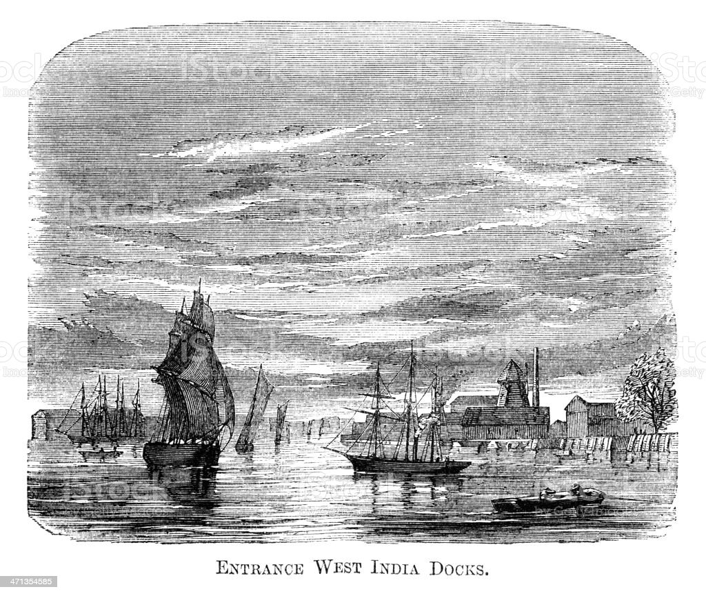 Entrance to West India Docks, London (1871 engraving) royalty-free stock vector art