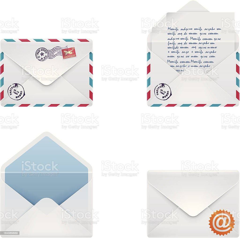 Envelope icon set vector art illustration
