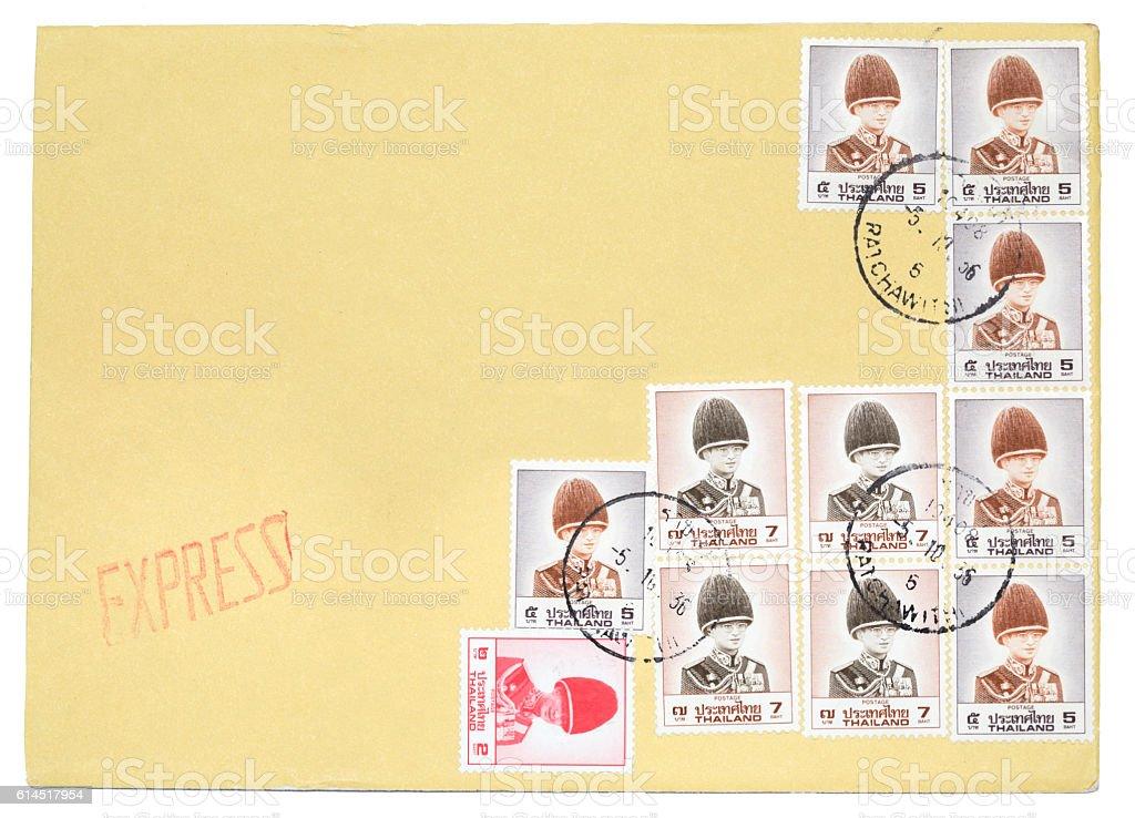 Envelope Of Thai Stamps Of His Majesty King Bhumibol Adulyadej vector art illustration