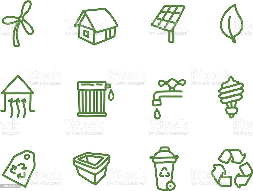Environment Conservation Icons vector art illustration