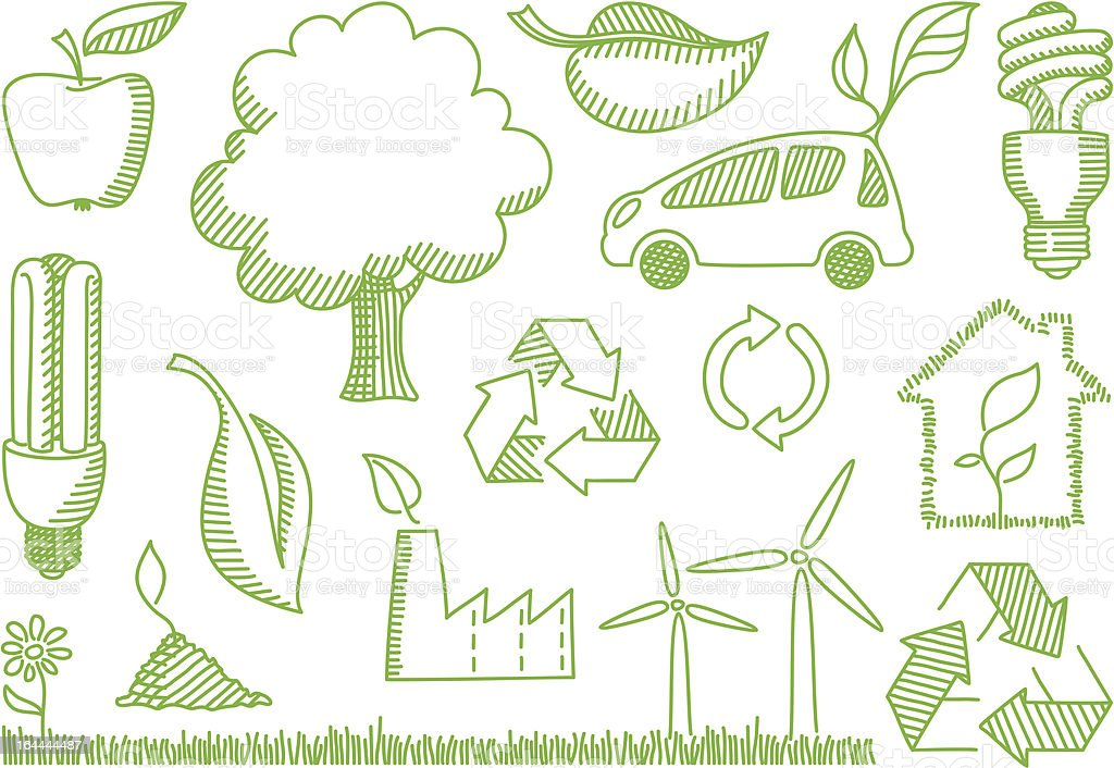 Environment doodles icons royalty-free stock vector art