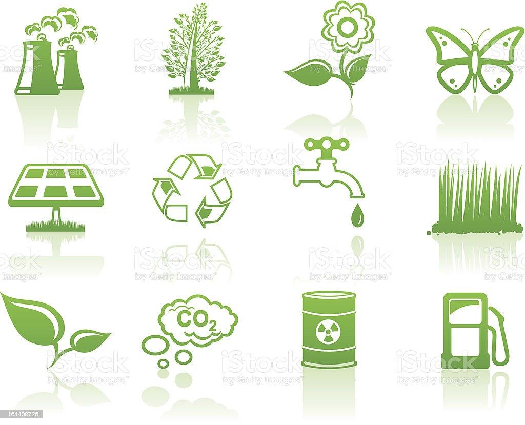 Environment green icon set royalty-free stock vector art