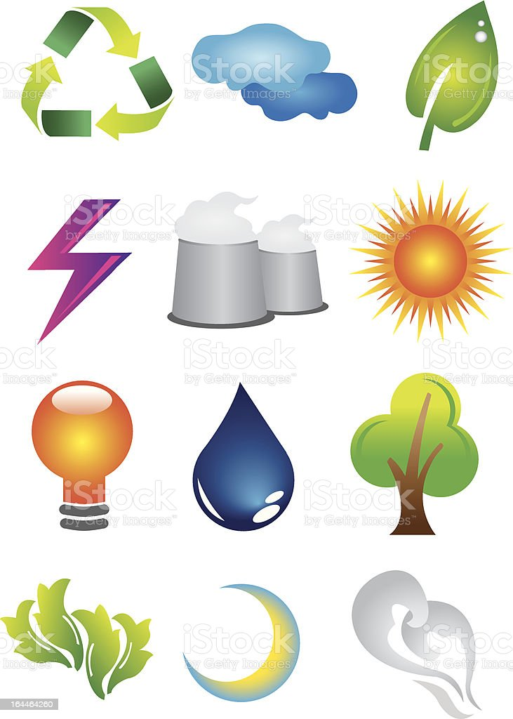 2D Environmental Conservation Icons royalty-free stock vector art