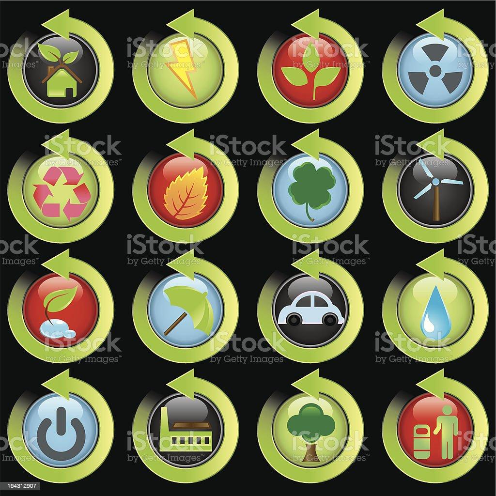environmental green icons vector art illustration