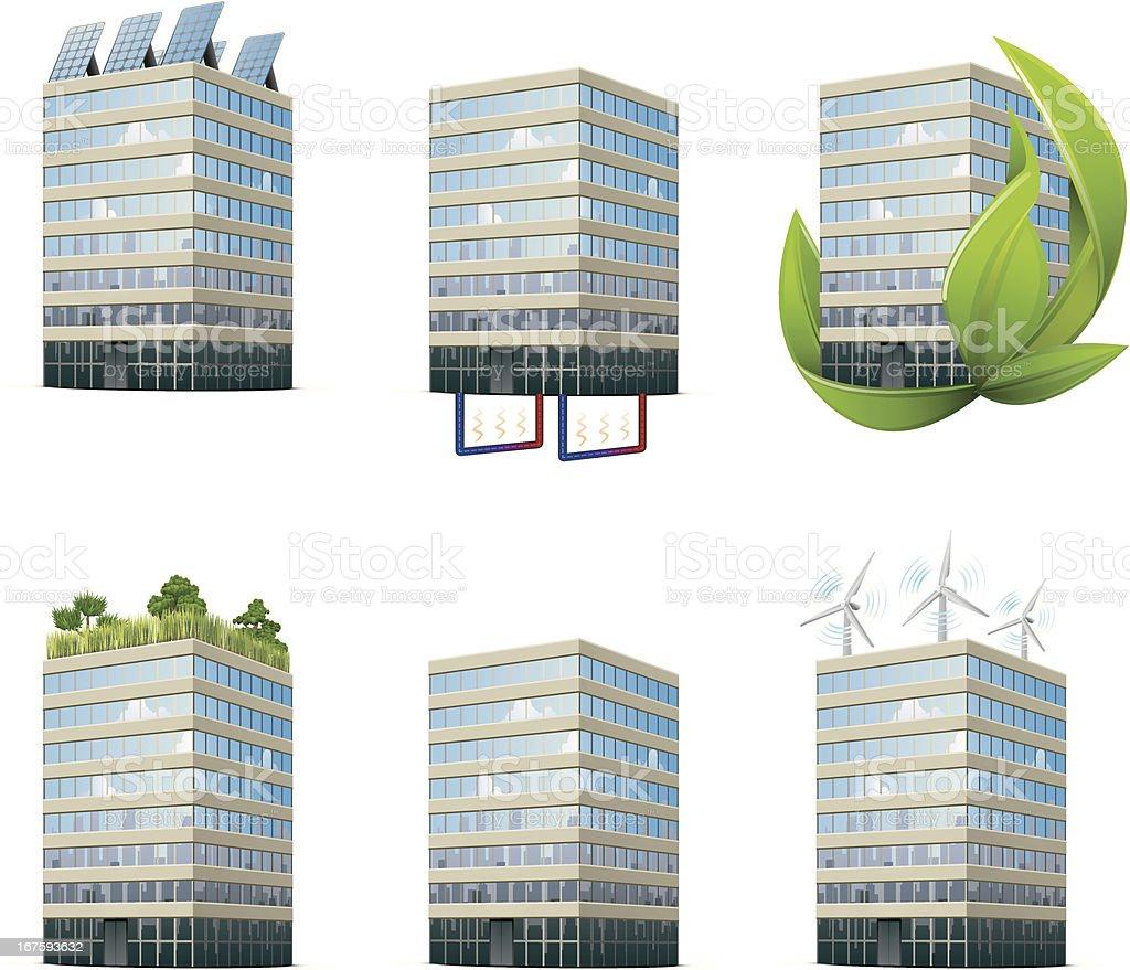 Environmental Office Building Icons vector art illustration