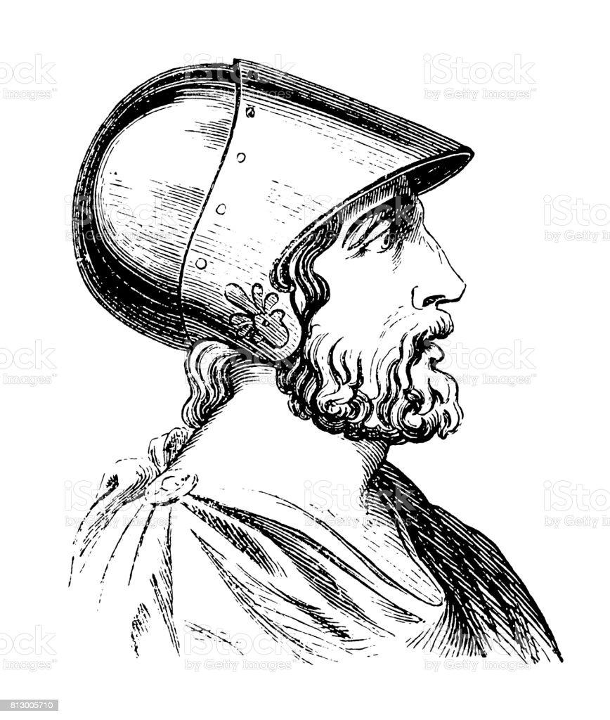 Epaminondas (c. 418-362 BC) vector art illustration