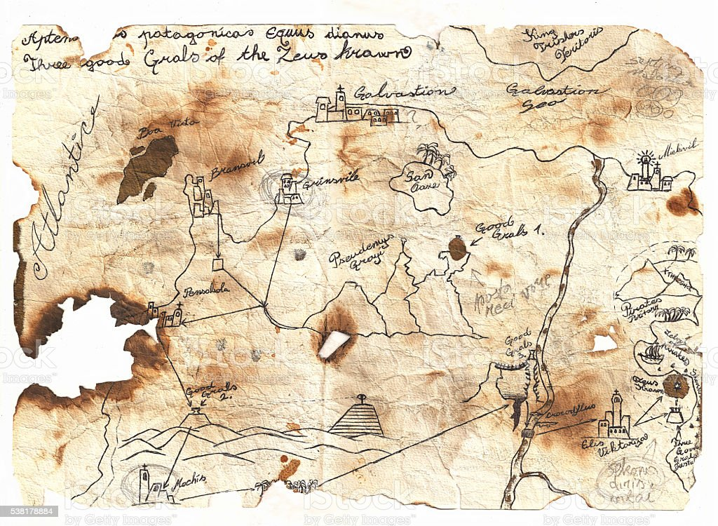 Epic fantasy world map vector art illustration